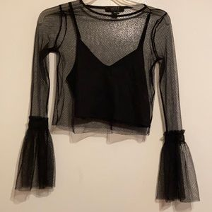 Great Lace Sheer Top With Black Crop Top attached